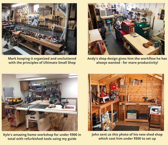 setup fully equipped small woodworking workshop